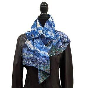 100% silk hand painted scenery blue green scarf